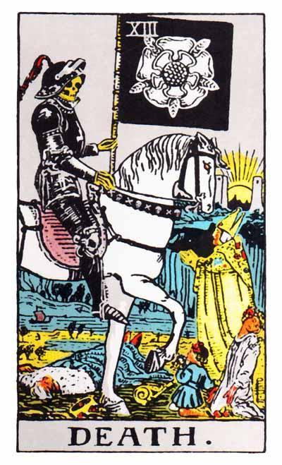 Death ir Rider-Waite Tarot depcts arch angel uriel