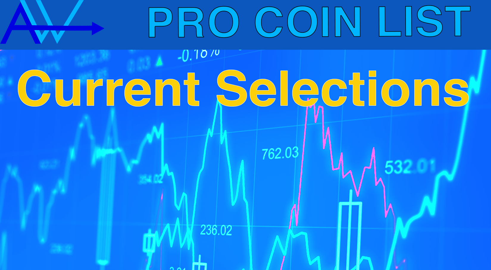 PRO Good CRYPTOS List<br><span style='color:#00adee;font-size:.8em'>8 High Multiple Coins, 4 Blue Chips, 4 ok Long Term coins and 5 to get away from.</span>